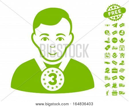 3rd Prizer Sportsman icon with free bonus clip art. Vector illustration style is flat iconic symbols eco green color white background.