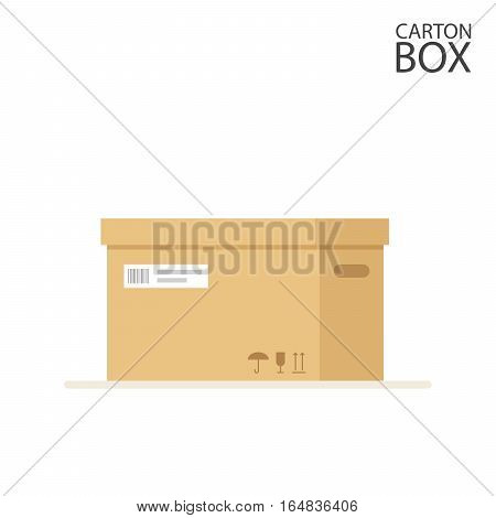 Close carton box to send mail or packages sealed with adhesive tape and label. Flat Illustration isolated on white background. Vector, EPS10
