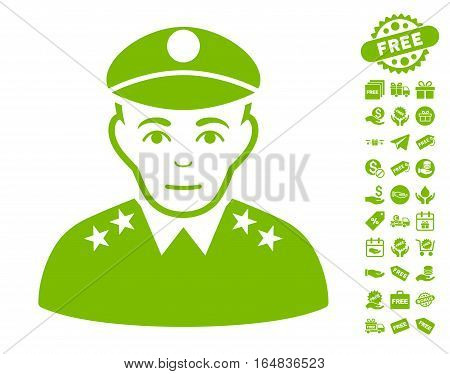 Army General icon with free bonus pictograms. Vector illustration style is flat iconic symbols eco green color white background.
