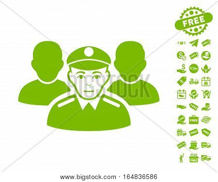 Army Team icon with free bonus clip art. Vector illustration style is flat iconic symbols eco green color white background.
