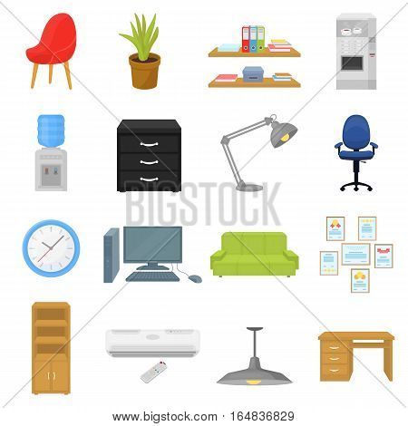 Office furniture and interior set icons in cartoon style. Big collection of office furniture and interior vector symbol stock