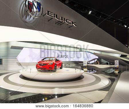 DETROIT MI/USA - JANUARY 9 2017: A 2017 Buick Cascada car at the North American International Auto Show (NAIAS).