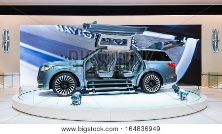DETROIT MI/USA - JANUARY 9 2017: A Gull-wing doors and concertina steps on the Lincoln Navigator Concept SUV at the North American International Auto Show (NAIAS).