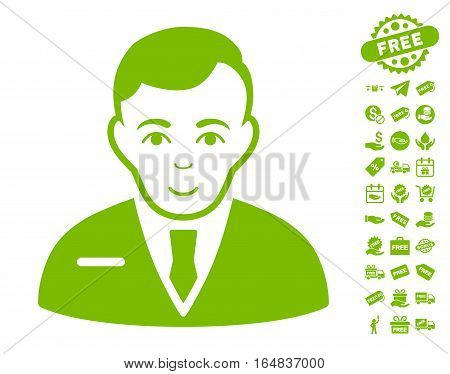Businessman icon with free bonus pictograms. Vector illustration style is flat iconic symbols eco green color white background.