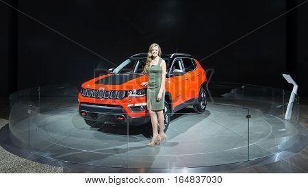 DETROIT MI/USA - JANUARY 9 2017: A 2017 Jeep Compass SUV at the North American International Auto Show (NAIAS).