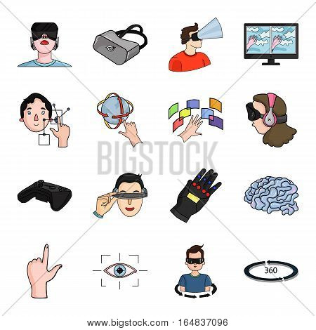 Virtual reality set icons in cartoon style. Big collection of virtual reality vector symbol stock