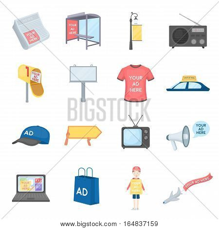 Advertising set icons in cartoon style. Big collection of advertising vector symbol stock