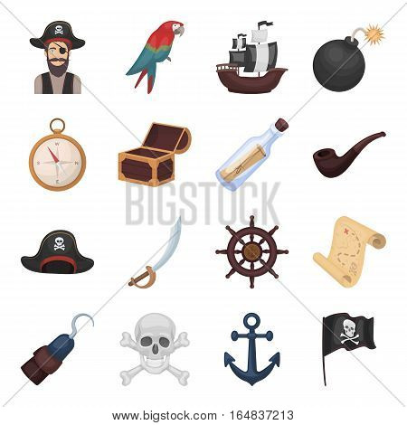 Pirates set icons in cartoon style. Big collection of pirates vector symbol stock