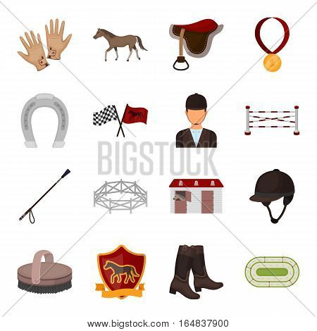 Hippodrome and horse set icons in cartoon design. Big collection of hippodrome and horse vector symbol stock illustration