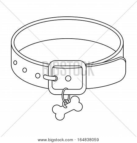 Dog collar icon in outline design isolated on white background. Veterinary clinic symbol stock vector illustration.