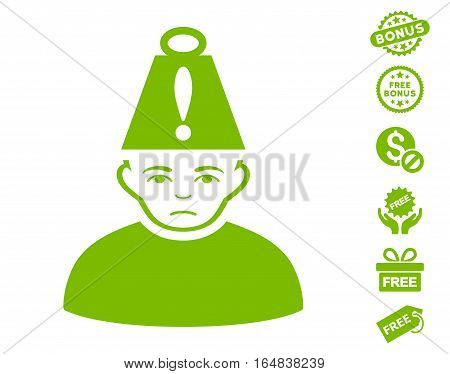 Head Stress pictograph with free bonus pictograms. Vector illustration style is flat iconic symbols eco green color white background.