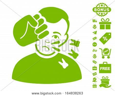 Head Strike pictograph with free bonus design elements. Vector illustration style is flat iconic symbols eco green color white background.