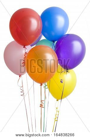 Colorful Balloons With Happy Celebration Party. Isolated On A White Background.
