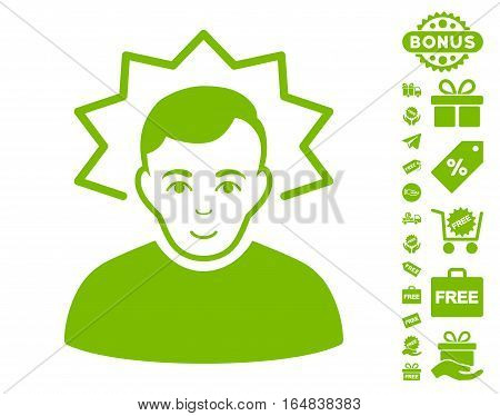 Inventor pictograph with free bonus design elements. Vector illustration style is flat iconic symbols eco green color white background.