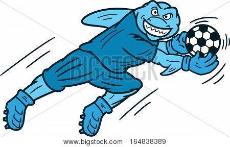 Shark Goalkeeper Catching Ball Cartoon Illustration Isolated on White