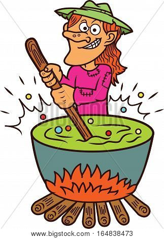 Witch Making Potion Cartoon Illustration. Vector Character Isolated on White.
