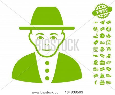 Jew icon with free bonus pictograph collection. Vector illustration style is flat iconic symbols eco green color white background.