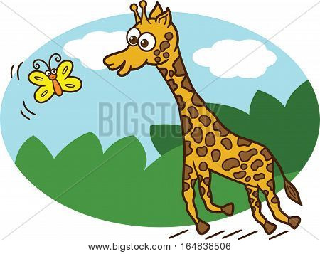 Young Giraffe Chasing Butterfly Cartoon Illustration. Vector Character.
