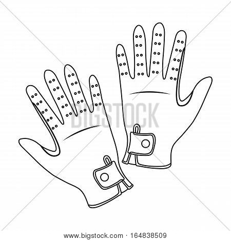 Jockey s gloves icon in outline design isolated on white background. Hippodrome and horse symbol stock vector illustration.