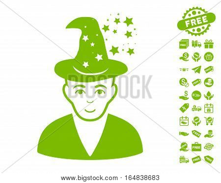 Magic Master pictograph with free bonus pictograms. Vector illustration style is flat iconic symbols eco green color white background.