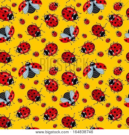 Corel seamless pattern ladybugs on a yellow background. Many beetles crawl and fly. Ladybugs red with black dots. Background bright yellow. Image can be used for the background, wallpaper and for the production of other printed matter.