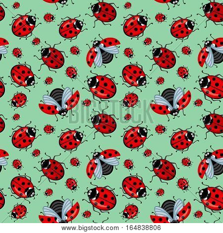 Corel seamless pattern ladybugs on a blue background. Many beetles crawl and fly. Ladybugs red with black dots. Background goubogo restrained color shades of mint. The picture can be used for a background, wallpaper, and for the production of other printe