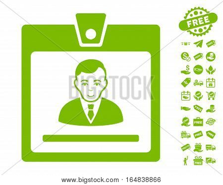 Manager Badge pictograph with free bonus images. Vector illustration style is flat iconic symbols eco green color white background.