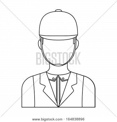 Jockey icon in outline design isolated on white background. Hippodrome and horse symbol stock vector illustration.