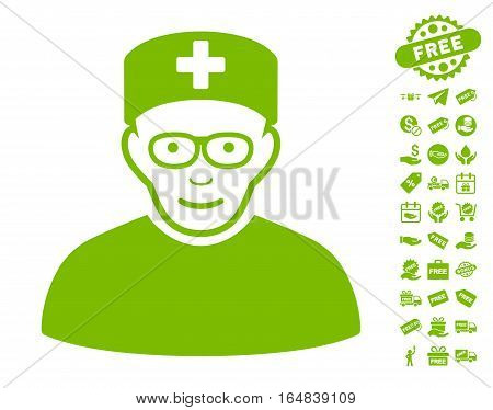 Medical Specialist pictograph with free bonus pictograms. Vector illustration style is flat iconic symbols eco green color white background.