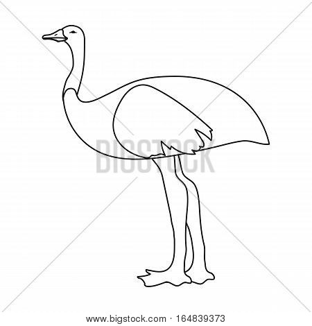 Emu icon in outline design isolated on white background. Australia symbol stock vector illustration.