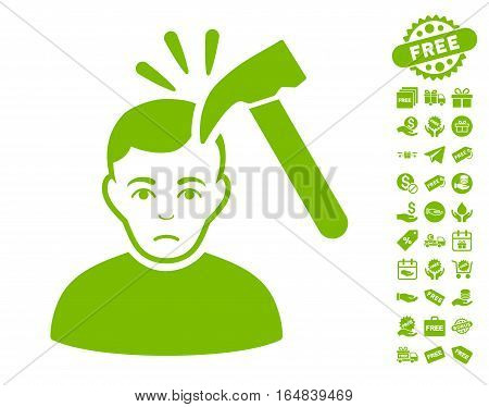 Murder With Hammer pictograph with free bonus clip art. Vector illustration style is flat iconic symbols eco green color white background.