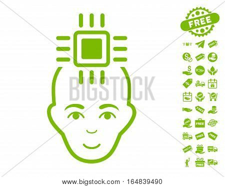Neural Computer Interface icon with free bonus pictograph collection. Vector illustration style is flat iconic symbols eco green color white background.