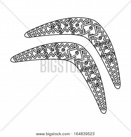 Australian boomerang icon in outline design isolated on white background. Australia symbol stock vector illustration.