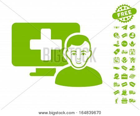 Online Medicine icon with free bonus graphic icons. Vector illustration style is flat iconic symbols eco green color white background.