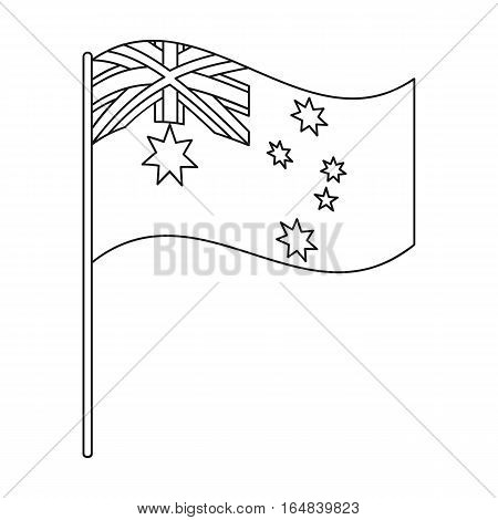 Australian flag icon in outline design isolated on white background. Australia symbol stock vector illustration.