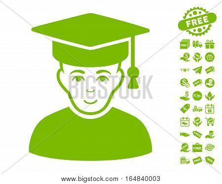 Professor pictograph with free bonus symbols. Vector illustration style is flat iconic symbols eco green color white background.