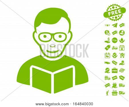 Reader icon with free bonus icon set. Vector illustration style is flat iconic symbols eco green color white background.