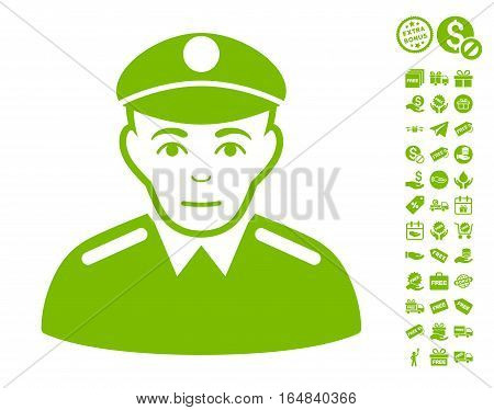 Soldier pictograph with free bonus design elements. Vector illustration style is flat iconic symbols eco green color white background.