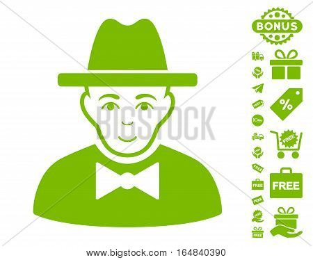 Spy icon with free bonus clip art. Vector illustration style is flat iconic symbols eco green color white background.