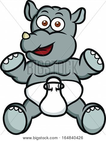 Baby Rhino Cartoon Animal Character. Vector Illustration Isolated on White.