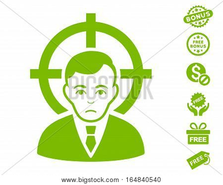 Victim Businessman pictograph with free bonus symbols. Vector illustration style is flat iconic symbols eco green color white background.
