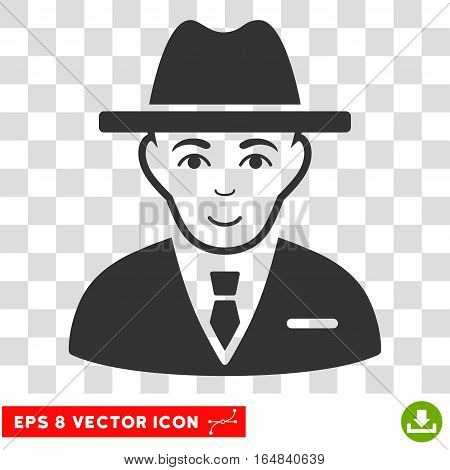 Agent EPS vector icon. Illustration style is flat iconic gray symbol on chess transparent background.