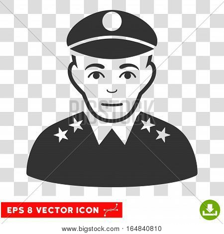 Army General EPS vector icon. Illustration style is flat iconic gray symbol on chess transparent background.