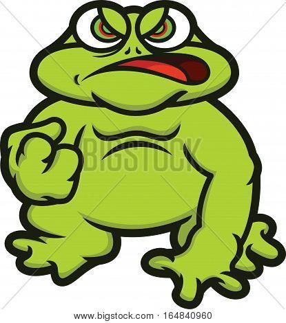 Bullfrog Cartoon Animal Character Isolated on White