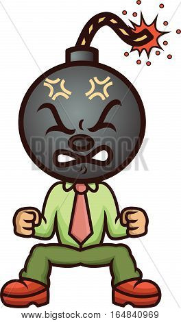 Businessman Bomb Head Cartoon Illustration Isolated on White