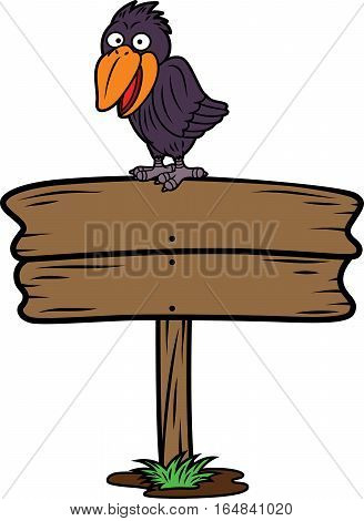 Crow on Wooden Board Sign Cartoon Illustration Isolated on White