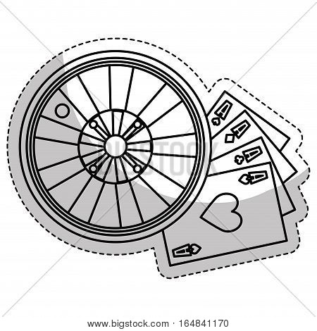casino roulette wheel and poker cards  over white background. gambling games design. vector illustration