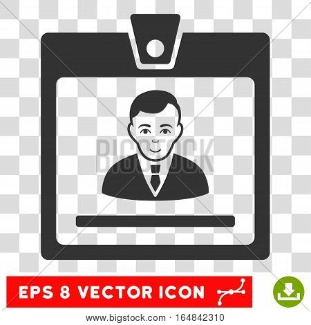 Manager Badge EPS vector pictogram. Illustration style is flat iconic gray symbol on chess transparent background.