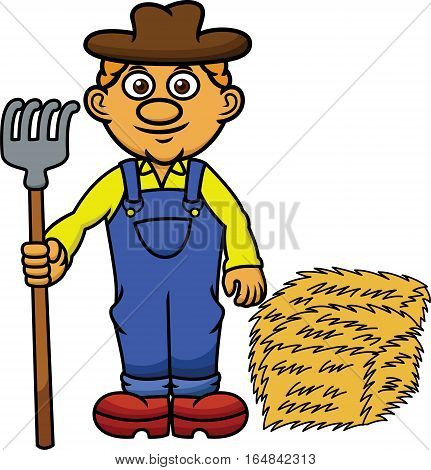 Farmer with Pitchfork and Hay Cartoon Illustration