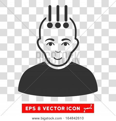 Neural Interface EPS vector icon. Illustration style is flat iconic gray symbol on chess transparent background.